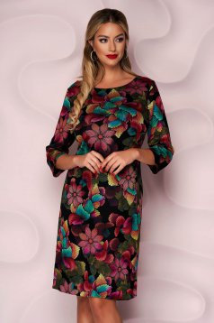 StarShinerS dress thin fabric straight midi office from elastic fabric with 3/4 sleeves knitted