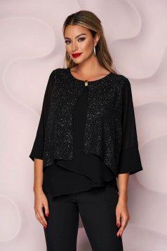 Bluza dama Lady Pandora neagra office cu croi larg asimetrica din material subtire din voal accesorizata cu brosa