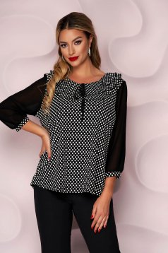 Women`s blouse loose fit office with veil sleeves thin fabric from elastic fabric