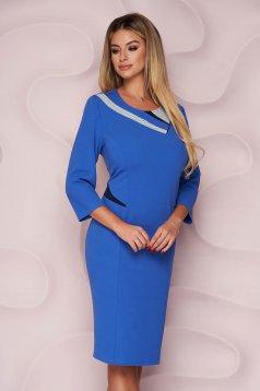 Black dress office straight midi thin fabric from elastic fabric back slit