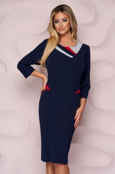 Darkblue dress office straight midi thin fabric from elastic fabric back slit