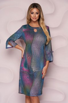 Dress office straight thin fabric from elastic fabric with graphic details knitted fabric