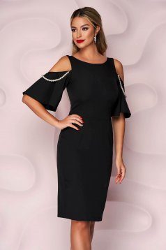 StarShinerS black both shoulders cut out elegant dress with pearls