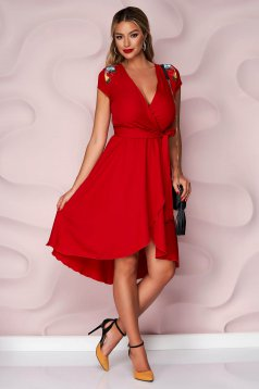 StarShinerS red dress thin fabric asymmetrical occasional cloche with elastic waist nonelastic fabric