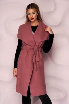 Pink gilet thick fabric casual with pockets detachable cord soft fabric