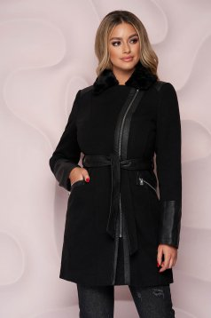 Black coat elegant tented thick fabric fur collar with faux leather details