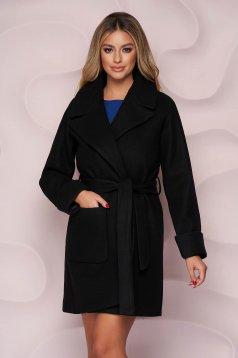 Palton SunShine negru office cu un croi drept din material gros si fin la atingere si cordon detasabil