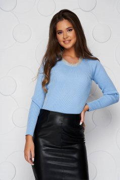 Lightblue women`s blouse knitted short cut with pearls casual from elastic fabric