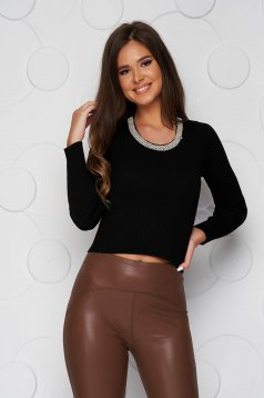 Black women`s blouse knitted short cut with pearls casual from elastic fabric