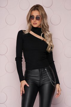 Black women`s blouse tented short cut cut-out bust design knitted fabric from striped fabric