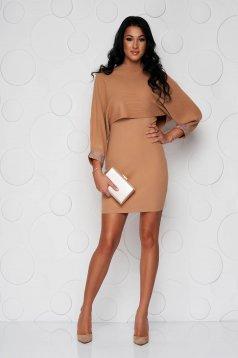 Rochie SunShine maro eleganta cu maneca lunga tip