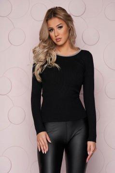 Bluza dama SunShine neagra casual mulata din material elastic tricotat si aplicatii cu pietre strass
