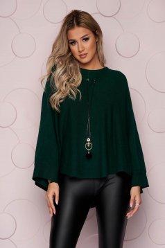 Pulover tip poncho SunShine verde-inchis casual cu croi larg din material tricotat si elastic si accesoriu tip colier