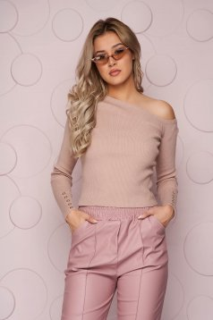 Bluza dama SunShine crem cu un croi mulat din material tricotat elastic si reiat pe umar