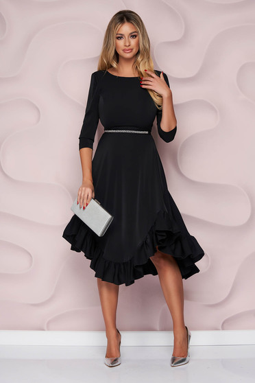 StarShinerS black dress occasional asymmetrical cloche thin fabric with ruffles at the buttom of the dress nonelastic fabric