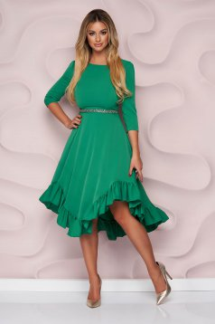 StarShinerS green dress occasional asymmetrical cloche thin fabric with ruffles at the buttom of the dress nonelastic fabric