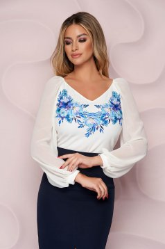 Women`s blouse elegant StarShinerS loose fit thin fabric long sleeved with floral print