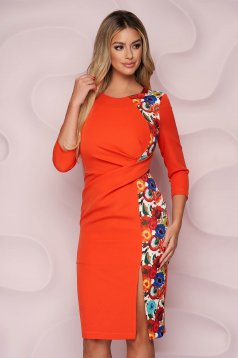 Rochie StarShinerS office midi tip creion din material neelastic fluid si imprimeu floral unic