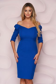 Rochie StarShinerS albastra midi tip creion de ocazie din stofa usor elastica cu decolteu in v si fundita pe umeri