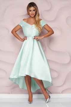 StarShinerS lightgreen dress occasional cloche asymmetrical thick fabric strass with pearls
