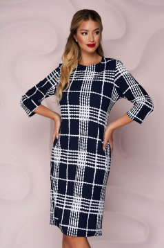 Dress thin fabric straight office midi from elastic fabric with 3/4 sleeves