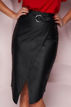 Black skirt pencil casual from ecological leather faux leather belt asymmetrical