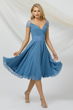 Blue dress occasional thin fabric from veil fabric with sequin embellished details midi