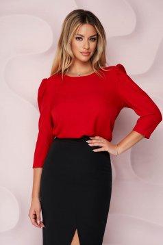 Bluza dama StarShinerS rosie office cu un croi mulat din material usor elastic cu maneci bufante