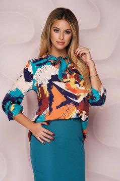 Bluza dama StarShinerS office cu croi larg asimetrica din material neelastic si imprimeu floral unic
