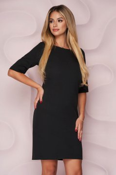 StarShinerS black dress office straight short cut slightly elastic fabric soft fabric