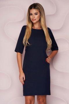 Rochie albastru-inchis StarShinerS scurta office cu un croi drept din material usor elastic si fin la atingere