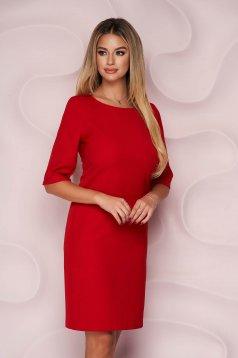 Rochie rosie StarShinerS scurta office cu un croi drept din material usor elastic si fin la atingere
