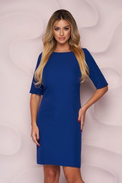 Rochie albastra StarShinerS scurta office cu un croi drept din material usor elastic si fin la atingere