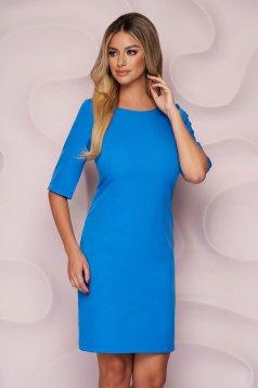 Rochie albastru-deschis StarShinerS scurta office cu un croi drept din material usor elastic si fin la atingere