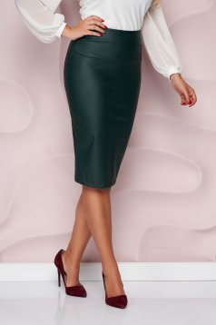 StarShinerS darkgreen pencil skirt from ecological leather high waisted from elastic fabric midi
