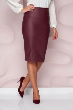 StarShinerS burgundy pencil skirt from ecological leather high waisted from elastic fabric midi