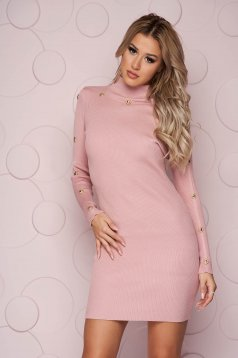 Lightpink dress knitted fabric with tented cut short cut with button accessories