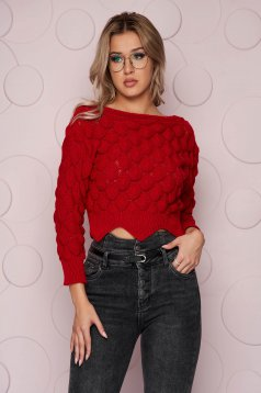 Red sweater knitted fabric from elastic fabric with tented cut long sleeve short cut