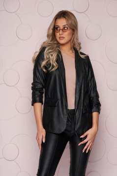Black jacket straight ecological leather thin fabric from elastic fabric with faux pockets