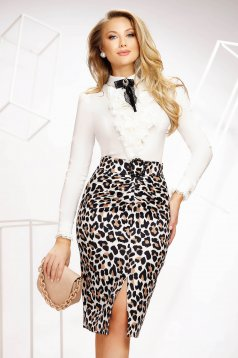Ivory women`s shirt office tented thin fabric with ruffle details accessorized with breastpin elastic cotton