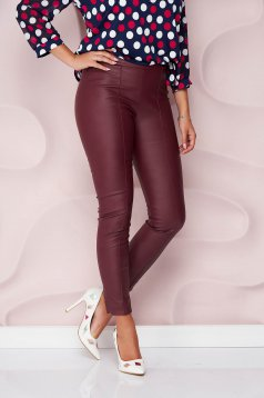 Casual burgundy StarShinerS trousers from ecological leather with tented cut high waisted side zip fastening