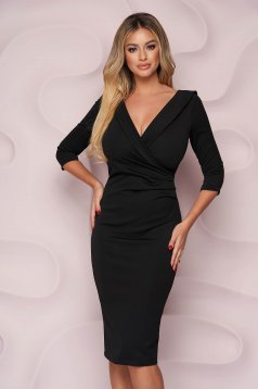 StarShinerS black dress office midi pencil from elastic fabric wrap over front