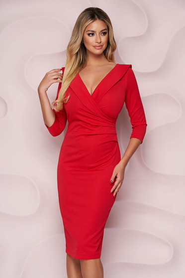 StarShinerS red dress office midi pencil from elastic fabric wrap over front