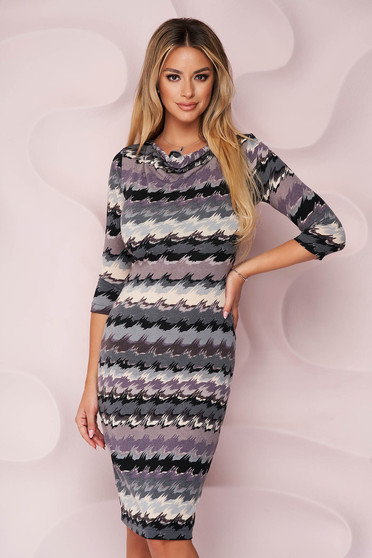 StarShinerS dress knitted fabric midi pencil cowl neck from elastic fabric