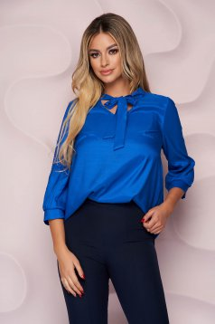 StarShinerS blue women`s blouse office asymmetrical loose fit thin fabric from satin nonelastic fabric tied with bow