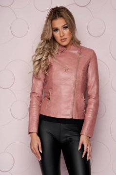 Lightpink jacket tented short cut thick fabric from ecological leather with zipper details pockets zipped sleeves