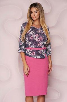 Dress midi straight from elastic fabric lace overlay elegant