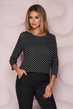 Bluza dama Lady Pandora scurta office cu croi larg din material subtire si elastic si maneci trei-sferturi