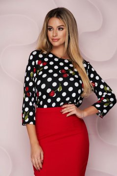 Women`s blouse thin fabric from elastic fabric loose fit office with 3/4 sleeves short cut