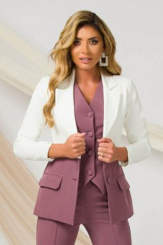 Pink jacket office slightly elastic fabric arched cut with padded shoulders